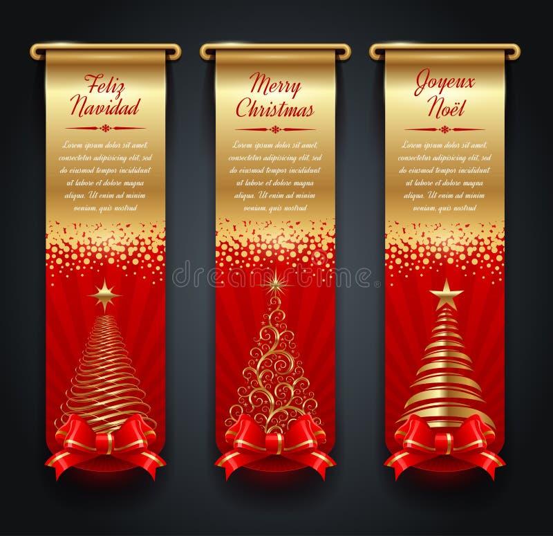 Olden знамена с приветствиями и рождественскими елками бесплатная иллюстрация