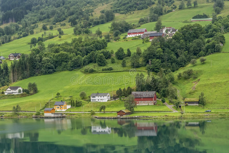Download Olden fjord stock photo. Image of water, buildings, summer - 40471806