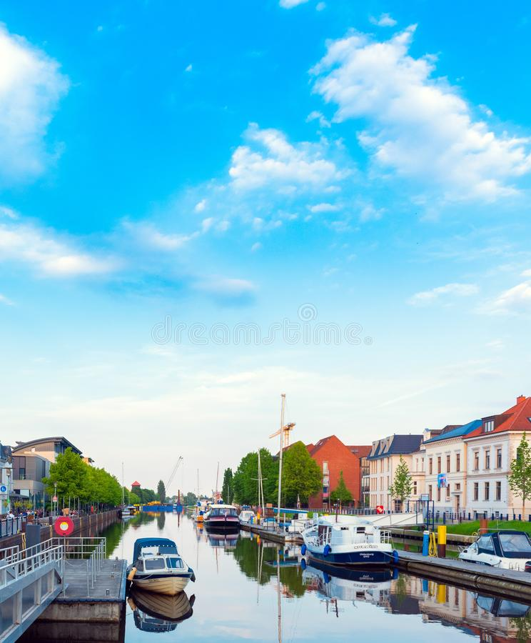 OLDENBURG, GERMANY - MAY 24, 2019: Boats drop anchor in a haven.  stock image