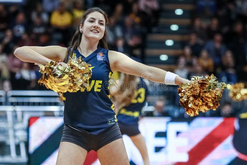 Cheerleader of the EWE Baskets Oldenburg royalty free stock photo