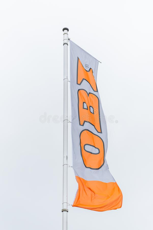 Oldenburg, Lower Saxony, Germany - July 13, 2019 OBI sign at store. OBI is a German home improvement supplies retailing company. stock photo