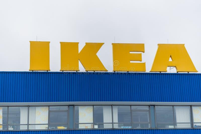 Oldenburg, Nedersaksen, Duitsland - Juli 13, de Opslag van IKEA van 2019 IKEA is de grootste die het meubilairdetailhandelaar van stock afbeelding