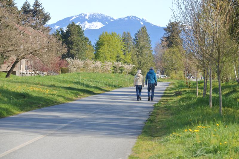 Urban Nature Pathway and Couple stock photography