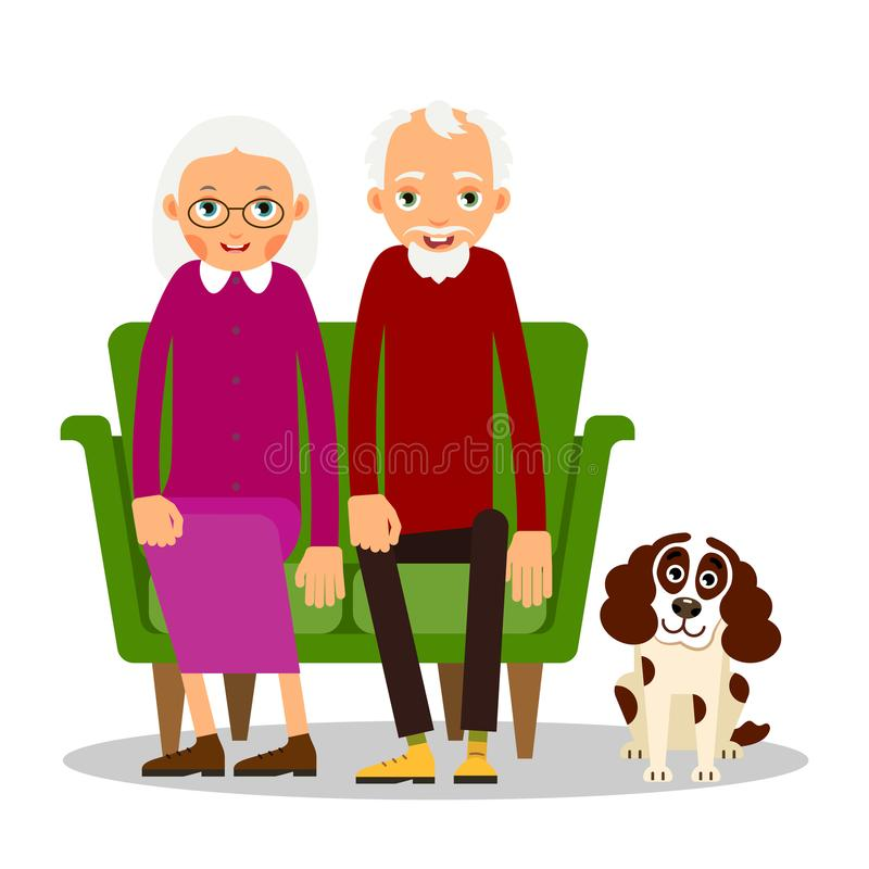 Older couple. On the sofa sitting elderly woman, man and dog. Old people with animal and furniture stock illustration