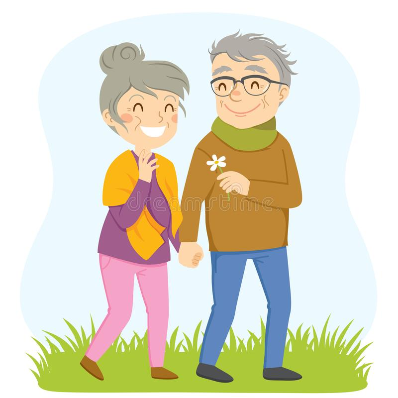Older Couple on a Walk. Happy older couple having a romantic walk outside. The man is giving a flower to the woman royalty free illustration