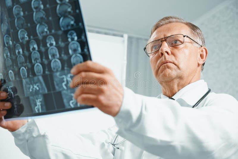 Older doctor examines MRI image. Older man doctor examines MRI image of human head in hospital stock images