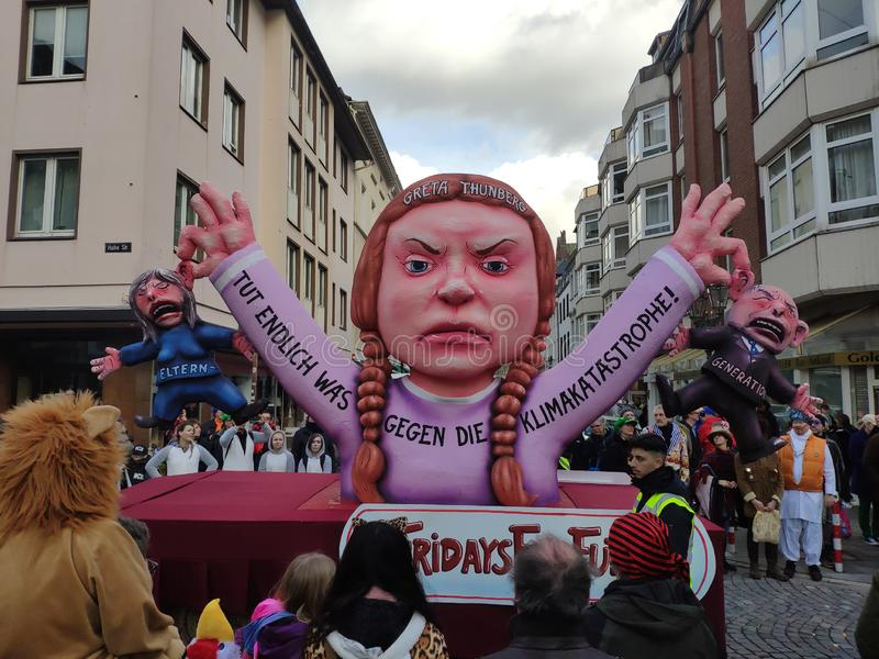 The older generation Fridays for future. The older generation Fridays for. Dusseldorf, Germany - March 3, 2019. Traditional street carnival. Unidentified people stock images