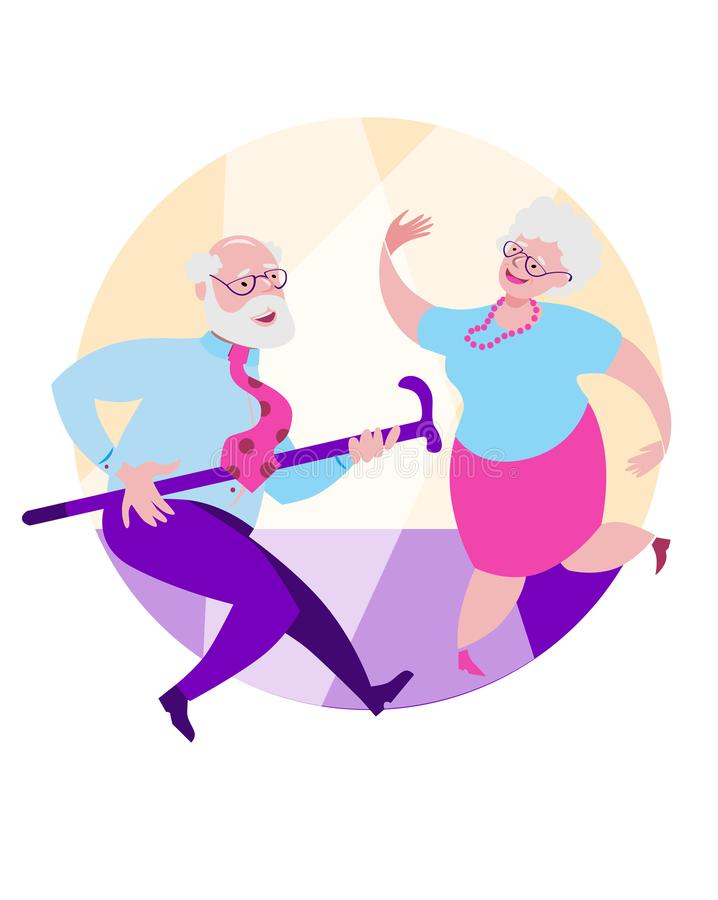 Older grandpa and grandma are dancing a happy dance. Vector illustration in flat style on round background royalty free illustration