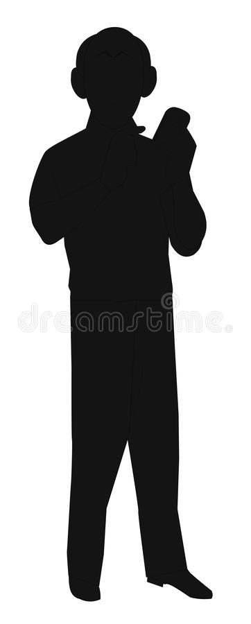 Older man with cell phone in silhouette. Older man in silhouette holding cell phone in his hand royalty free illustration