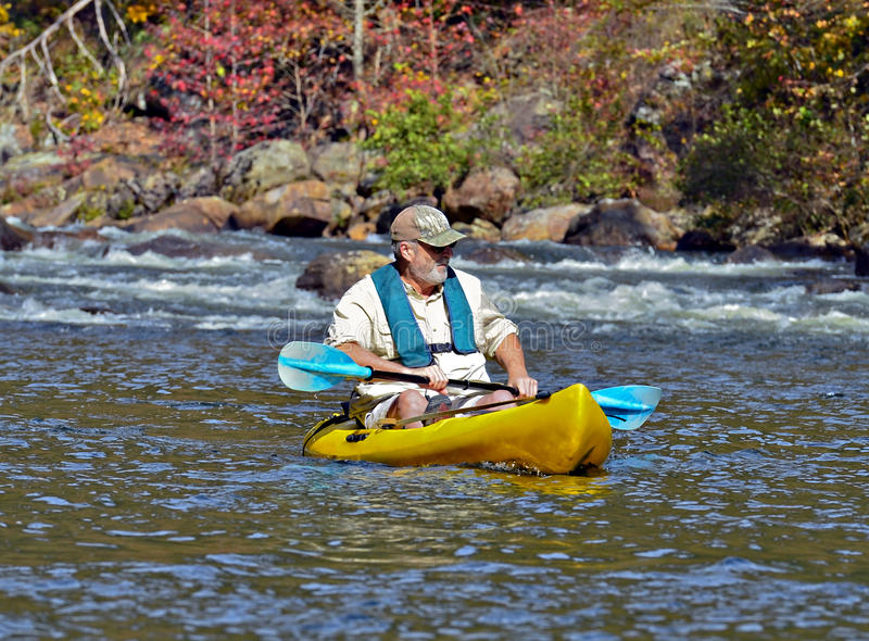 Older Man in Kayak royalty free stock photography