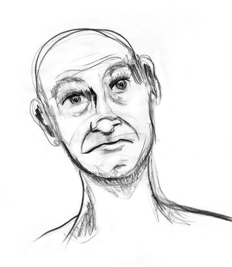 Older Man Portrait Animated Expression stock illustration