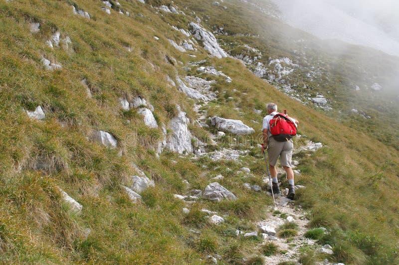 Older man walking uphill royalty free stock image