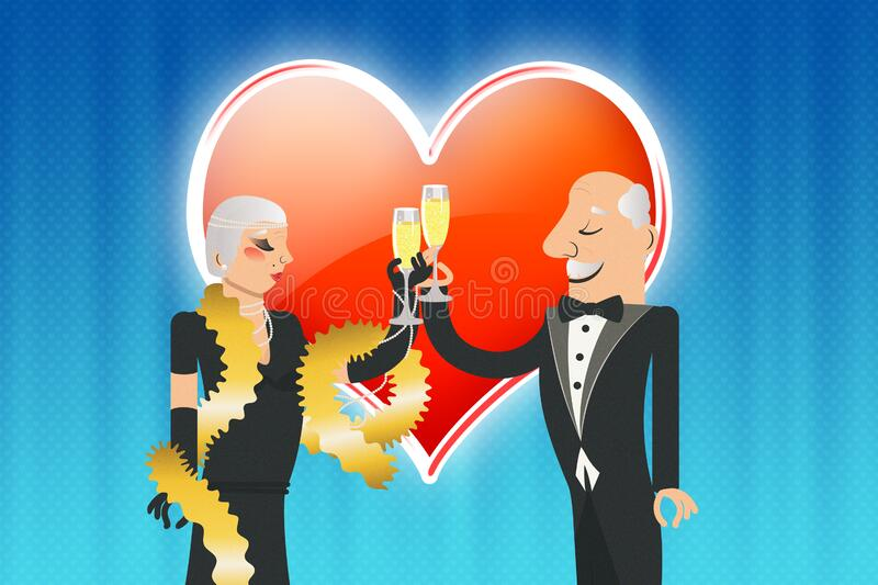 Older people with champagne over heart stock illustration
