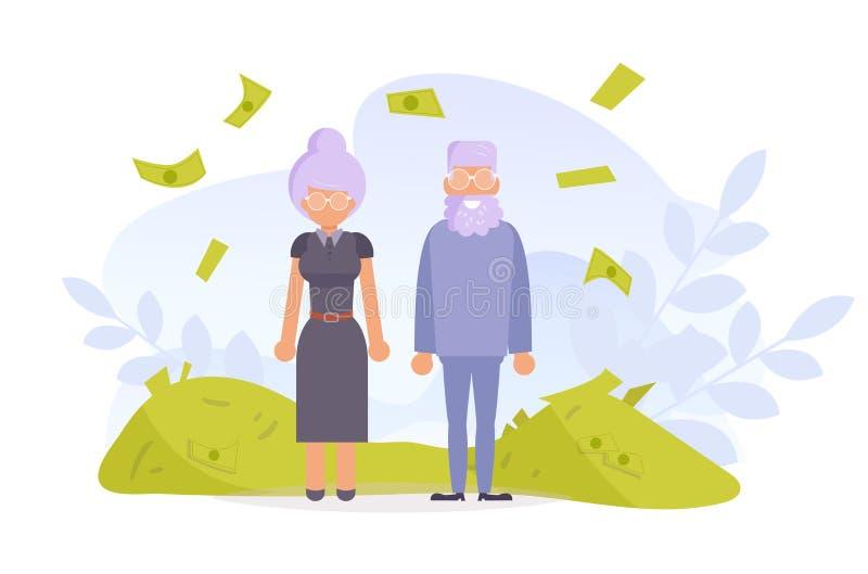 Older people. Heap of money. Dollars Vector. Cartoon. Isolated art on white background. Flat. Older people. Heap of money. Dollars Vector. Cartoon. Isolated art vector illustration