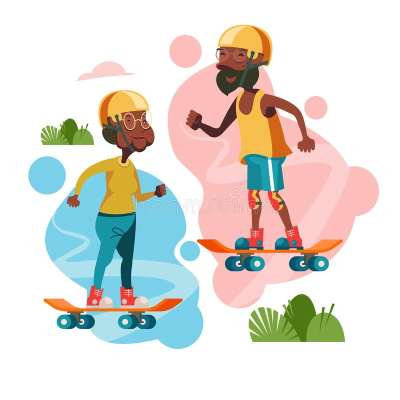 Older people lead an active lifestyle. An elderly man and a woman riding on skateboards. Vector illustration. Older people lead an active lifestyle. Elderly stock illustration