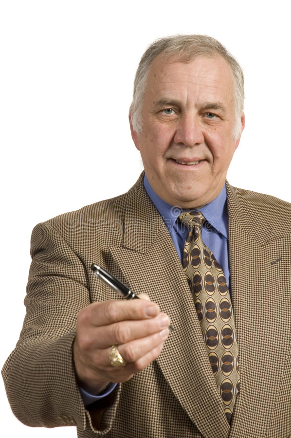 Older salesman with pen stock photo