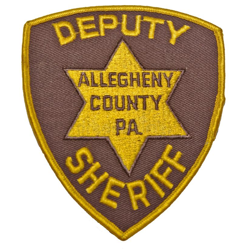 An older should patch from the Allegheny County Sheriff department in Pennsylvania royalty free stock image