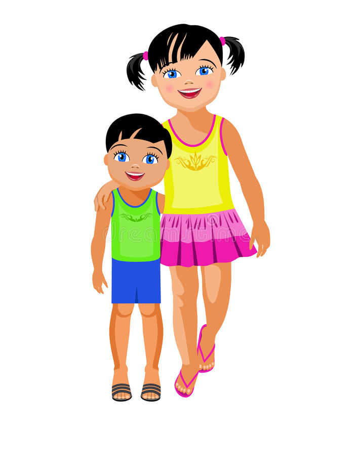 older sister embraces the younger brother stock vector