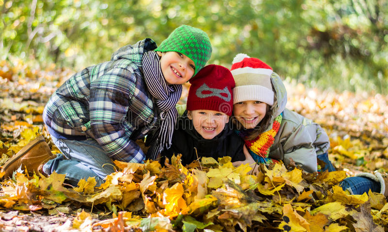 Older sister and two younger brothers in autumn leaves Happy. stock images