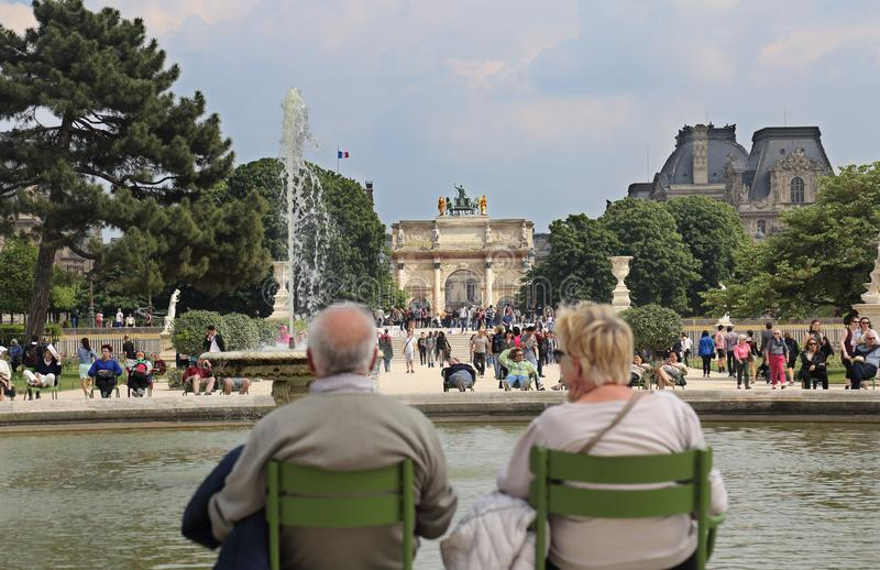 Older tourists in Paris, France stock images
