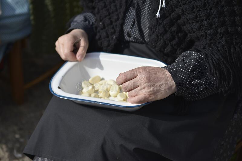 Older woman peeling garlic with knife in hand stock photography