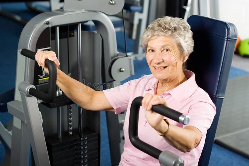 Older woman working out royalty free stock photography