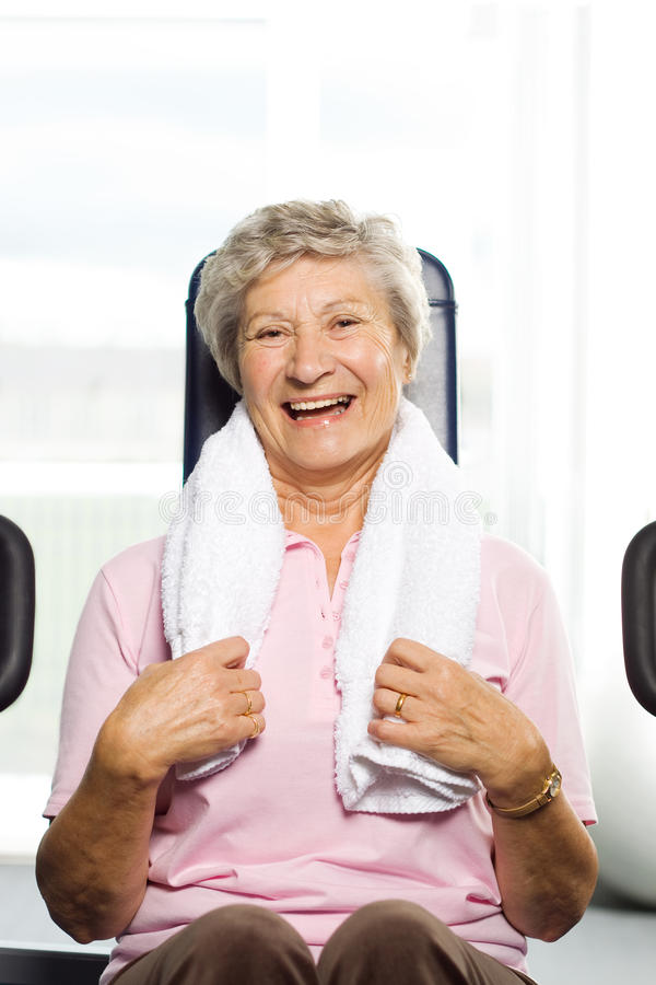 Older woman working out stock photos