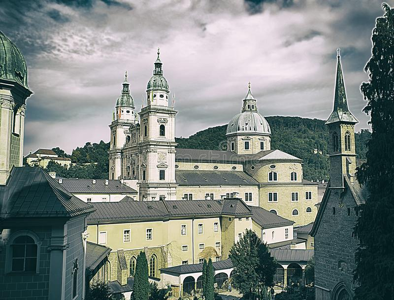 The oldest Benedictine monastery of St. Peter in Salzburg, Austria. 17-18 centuries, Abbey at the foot of the mönchsberg mountain stock photo