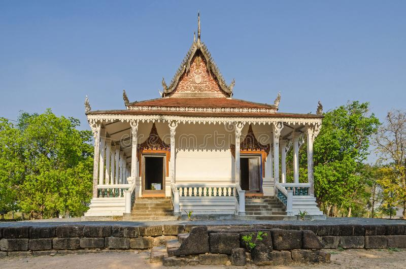 The oldest Cambodian monastery building near the village Kampong. The oldest monastery building Vihara near the village Kampong Tralach Leu with its typical stock photo