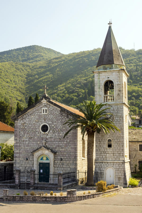 The oldest church in Tivat, Montenegro stock photography