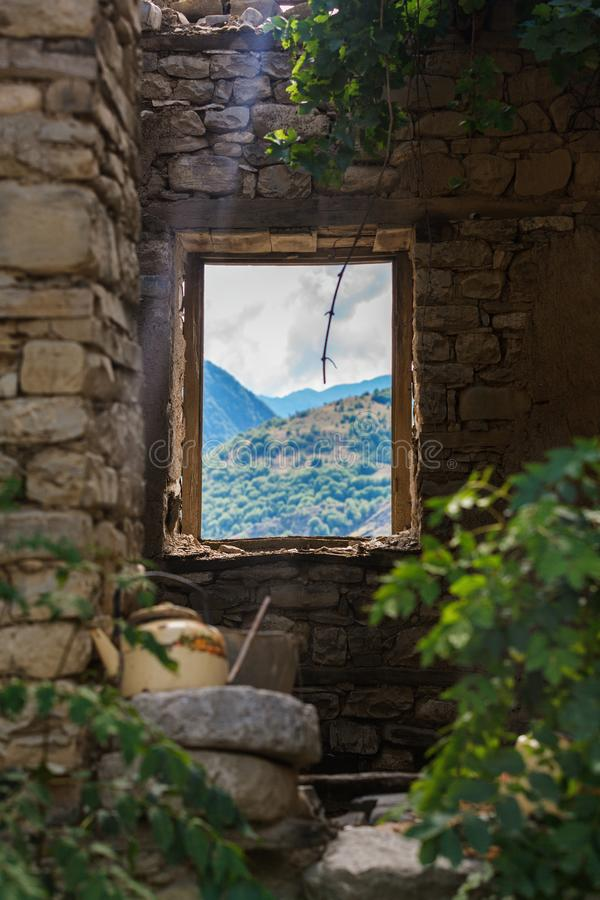 The oldest house in Lahic mountainous village made of stone in Azerbaijan stock images