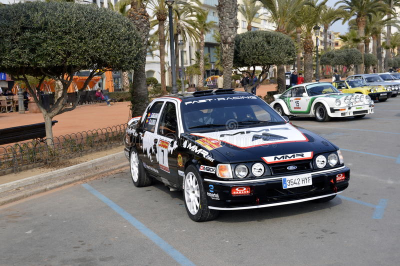 The oldest rally in spain, 2015, 63 Rally Costa Brava. Sporting Rally Champ 2015. Lloret de Mar - Girona. The oldest rally in spain, 2015, 63 Rally Costa Brava royalty free stock images