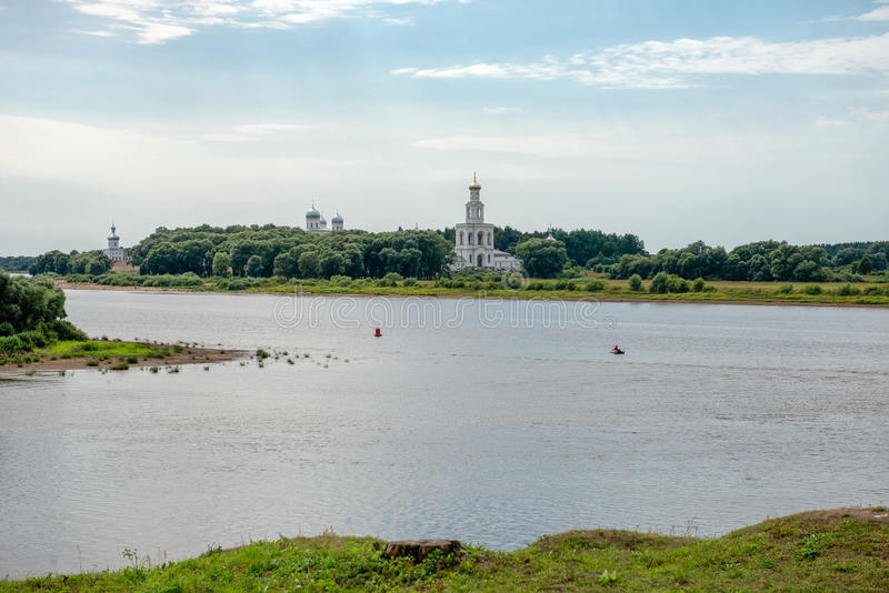 Oldest in Russia the St. George's (Yuriev) Monastery. On the bank of the Volkhov River near where it flows out of Lake Ilmen. Surroundings of Novgorod the Great stock photo