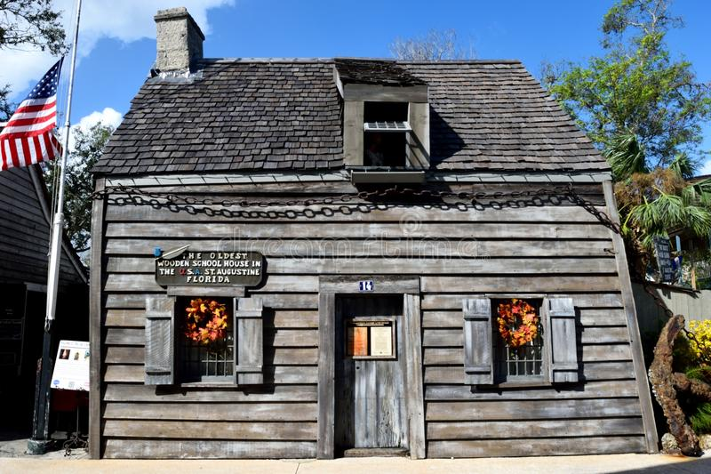 Oldest wooden schoolhouse in St. Augustine. Exterior of oldest wooden schoolhouse in St. Augustine, Florida, USA royalty free stock image