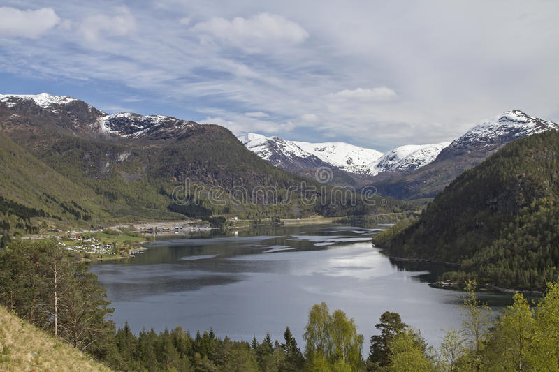 Oldevatnet in Oldedalen,. Passing the idyllic Oldevatnet one arrives to the Brikdalsbreen royalty free stock photo