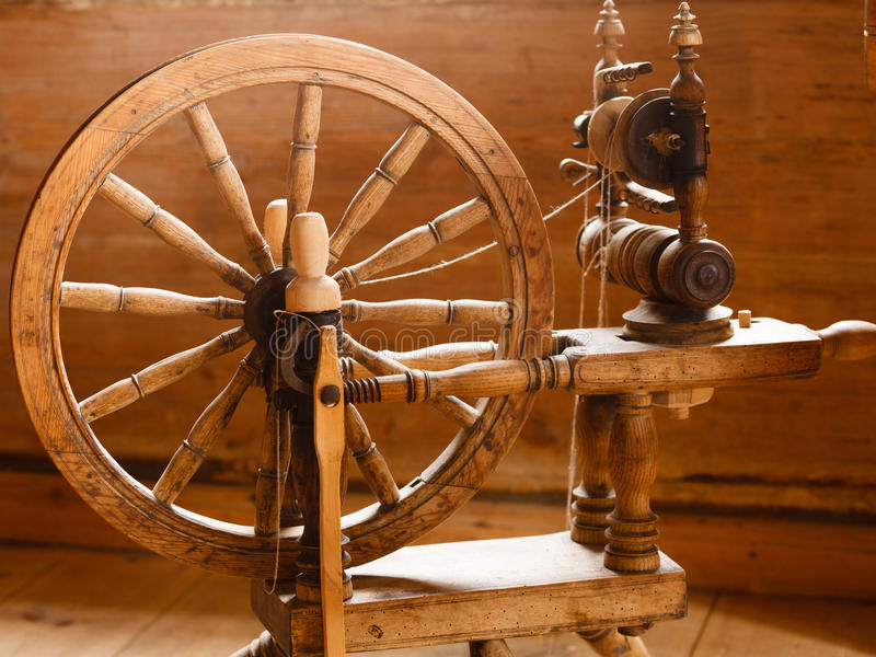 oldfashioned wooden distaff spindle spinning wheel stock. Black Bedroom Furniture Sets. Home Design Ideas