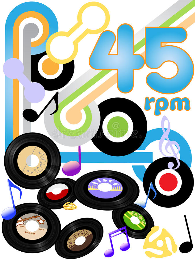 Free Oldies 45 RPM Rock And Roll Music Records Royalty Free Stock Photography - 10640877