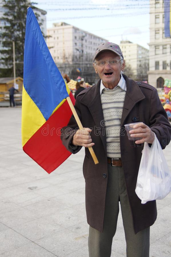 Oldman celebrate national day in Romania royalty free stock photo