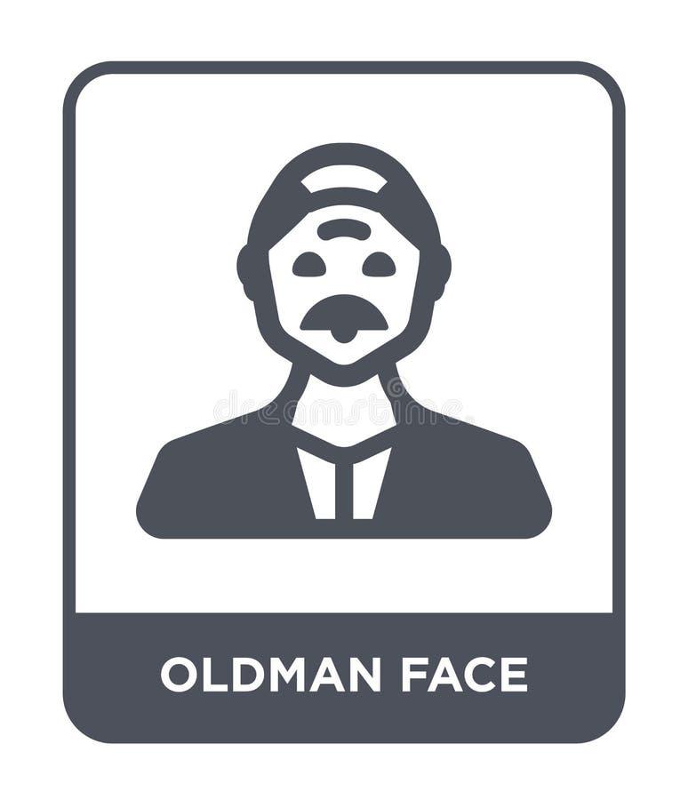 oldman Gesichtsikone in der modischen Entwurfsart oldman Gesichtsikone lokalisiert auf weißem Hintergrund oldman Gesichts-Vektori vektor abbildung