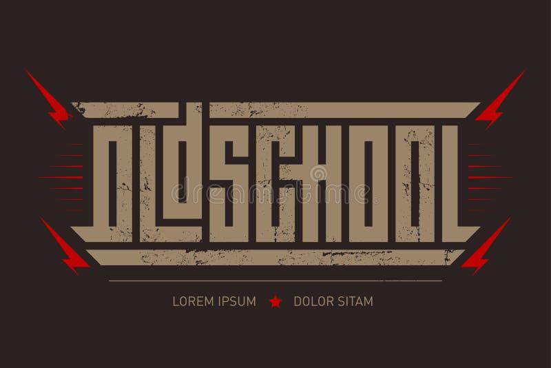 Oldschool - зверский шрифт для ярлыков, заголовков, плакатов музыки или печати футболки Горизонтальная надпись иллюстрация штока
