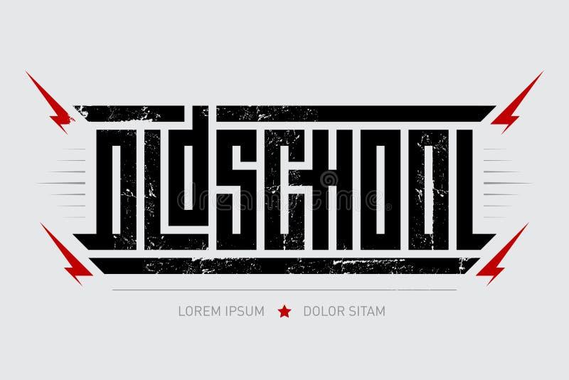 Oldschool - зверский шрифт для ярлыков, заголовков, плакатов музыки или печати футболки Горизонтальная надпись с молниями иллюстрация штока