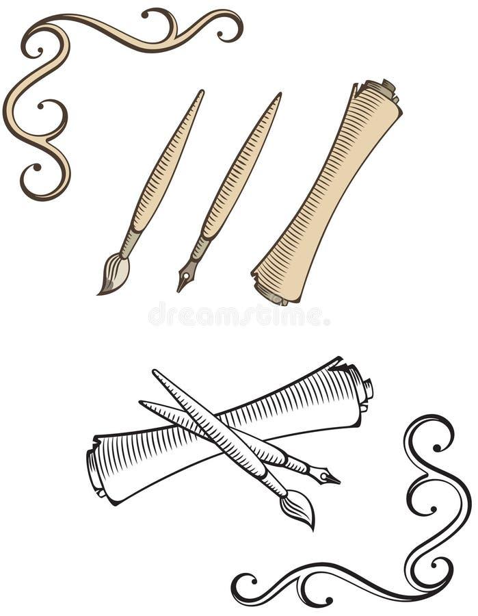Download Oldschool Brush, Pen, Scroll Illustrations Stock Photos - Image: 9738373
