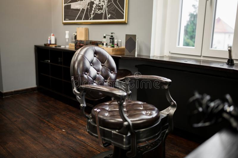 oldschool leather chair in barber shop stock image image of