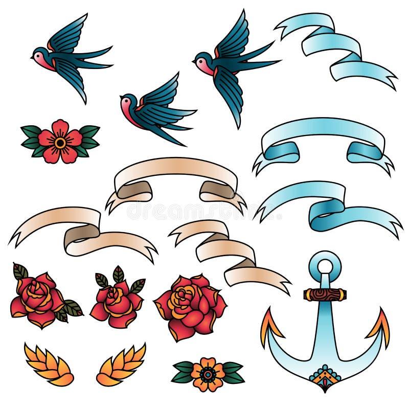 Oldschool tatuażu wektoru Tradycyjni elementy Ptaki, kwiaty, faborki royalty ilustracja
