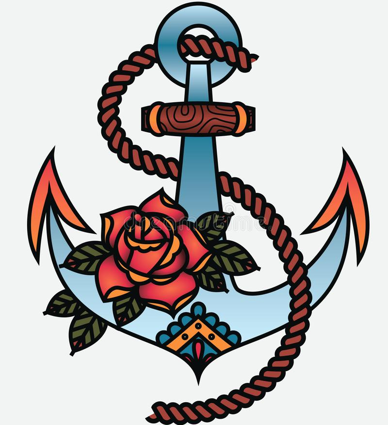 Free Oldschool Traditional Tattoo Vector Anchor And Rope Royalty Free Stock Photography - 138396657