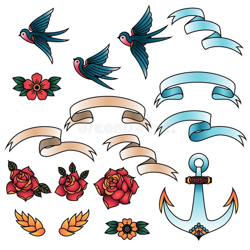 Free Oldschool Traditional Tattoo Vector Elements. Birds, Flowers, Ribbons. Stock Images - 138396684