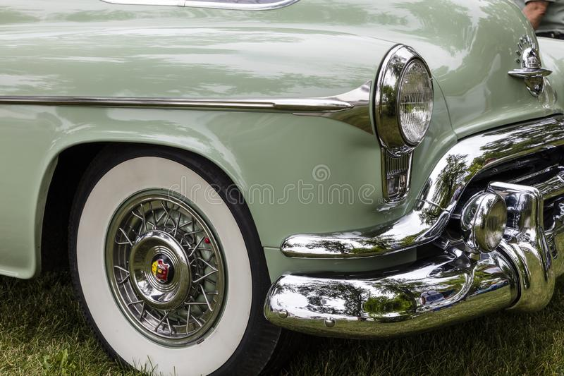 Oldsmobile 88 2dr 1952 classic car front chrome grille stock images