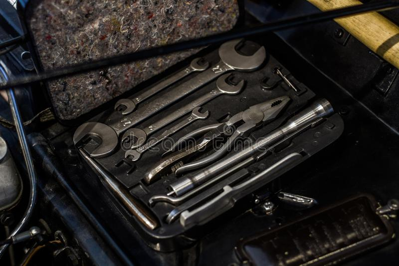 Oldtimer classic car tools. In european museum stock image