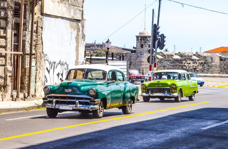 Oldtimers and retro cars in Cuba stock photos