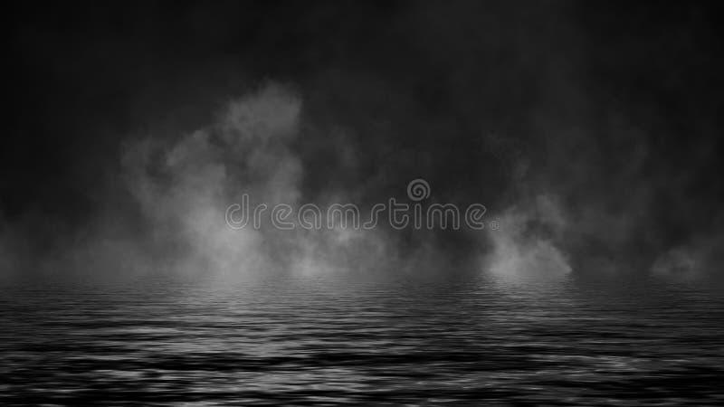 Oleadas rodantes de las nubes de la niebla del humo del hielo seco a trav?s de la luz inferior con la reflexi?n en agua Elemento  fotos de archivo libres de regalías